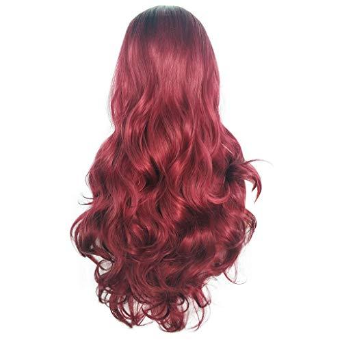 Scholieben parrucca donna capelli veri bionda corta rosa lunga,parrucche sintetiche ondulate ricce sexy a onde lunghe rosse rosse da festa naturale per donna