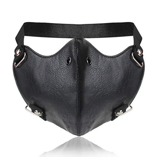 Sakuldes Punk PU Leder Maske Motorrad Biker Half Face Männer Cosplay Maske (Color : Black) (Ski Racing Kostüm)