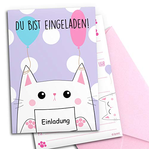 12x Einladungskarten zum Kindergeburtstag mit rosa Umschlägen   Kitty-Katze   Mädchen & Jungen   Geburtstagseinladungen Kinder Mädchen Partyeinladungen Geburtstag   Einladungen Übernachtungsparty