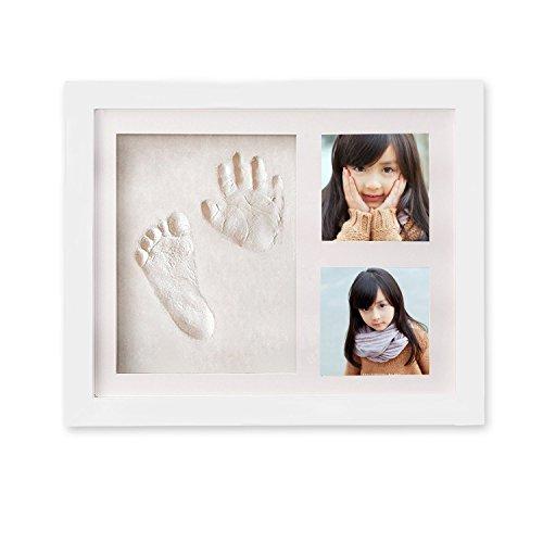 Baby Bilderrahmen, Vitutech Baby Handabdruck für Neugeborene Geschenk Babyrahmen mit sicherem Acrylglas und keine giftigen, sicheren Abdruckmasse, für Neugeborene Geschenk