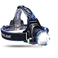 BACKTURE LED Headlamp Headlight, Head Torch USB Rechargeable Zoomable Flashlight Super Bright 800 Lumen, 4 Modes, Waterproof Adjustable for Running, Walking, Camping, Reading Fishing Cycling Light