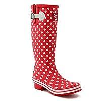 Evercreatures Womens Tall Wellington Boots 10DOT07 Red/White Polka Dots 7 UK, 40 EU Regular