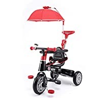 SHARESUN Smart Design 3-in-1 Childrens Tricycle 3 Wheel Bike Parents Handle,With parasol & security barrier Kids Trike,for 10-48 months Baby,Black