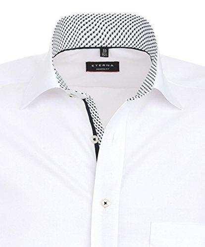 eterna signore camicia da uomo in cotone camicia in cotone camicia Business Tempo Libero a maniche lunghe Modern Fit Bianco Bianco