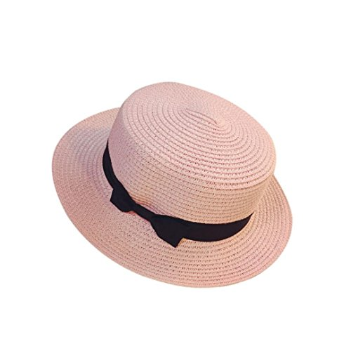 Price comparison product image Summer Hats-Unisex Men Women Packable Fedora Trilby Straw Sun Beach Hats Clearance (Pink -58~60cm)
