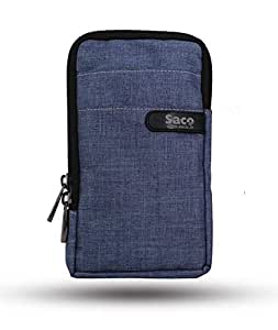 Saco Multipurpose Holster Premium Men/Woman Travel Bag Vertical Pouch with Belt Loop and Shoulder Straps Portable Carry for Mobile, Earphone, Money and Cards - (Blue)