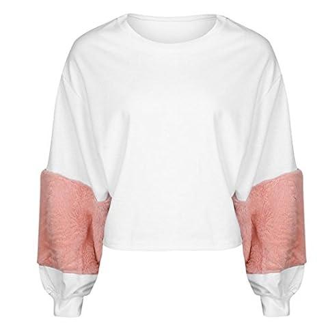 Bluestercool Sweat-shirt Femmes Sweats à Capuche à Manches Longues en Patchwork Pull-overs Tops Blouse (M, Blanc)