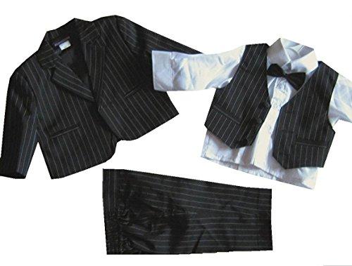 5tlg. Taufanzug Baby-Anzug Nadelstreifen schwarz Gr. 86/92 = ca. 21 Monate -