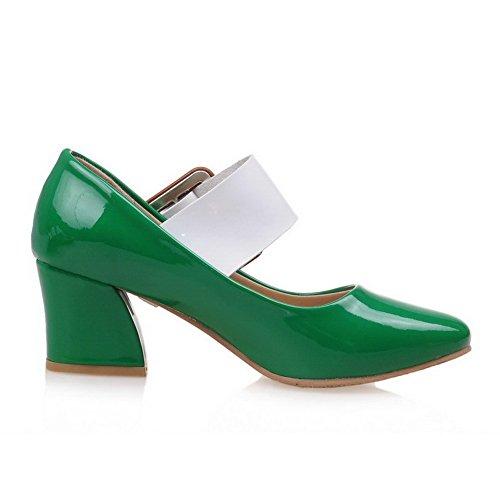 AgooLar Femme à Talon Correct Verni Couleurs Mélangées Boucle Carré Chaussures Légeres Vert