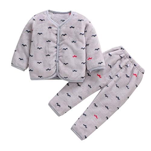 Livoral Baby Winter Even Jacke Neugeborenes Baby Boy Fleece warm verdicken Top Hosen Set Pyjamas Pyjamas Kleidung(H,3-6 Monate)
