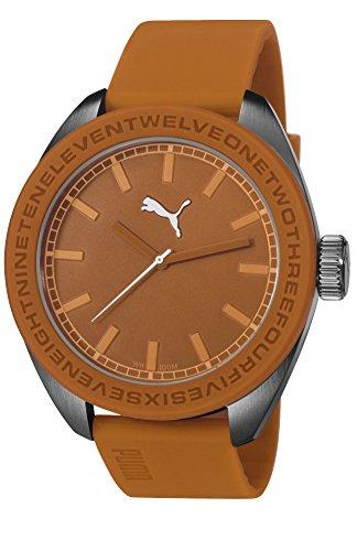 Puma U-Turn Unisex Quartz Watch with Orange Dial Analogue Display and Orange PU Strap PU103731002
