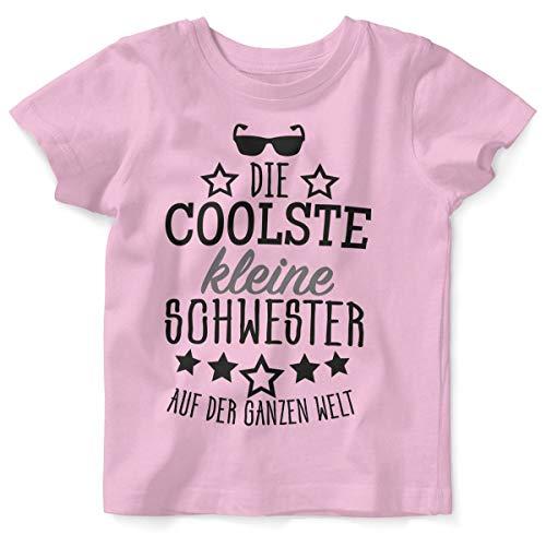 Mikalino Baby/Kinder T-Shirt mit Spruch für Jungen Mädchen Unisex Kurzarm Die coolste kleine Schwester auf der ganzen Welt   handbedruckt in Deutschland, Farbe:rosa, - Kleine Schwester Kostüm