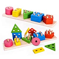 Highttoy Kids Geometric Shape Sorter Color Recognition Preschool Stacking Blocks