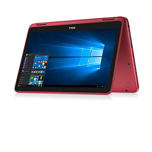 """2018 Newest Dell Inspiron 11.6"""" Touchscreen 2 In 1 Laptop PC Intel Celeron N3060 Dual-Core Processor Up To 2.48 GHz 2GB Memory 32GB EMMC SSD Hard Drive WiFi USB 3.0 Bluetooth Windows 10-Red"""