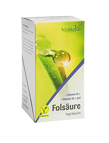 BjökoVit Folsäure Vegi-Kapseln mit Vitamin B12, Jod & Vitamin D, vegan, 60 Stück