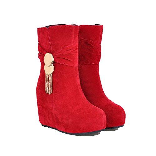 VogueZone009 Damen Reißverschluss Hoher Absatz Rein Niedrig-Spitze Stiefel mit Anhänger, Rot, 38