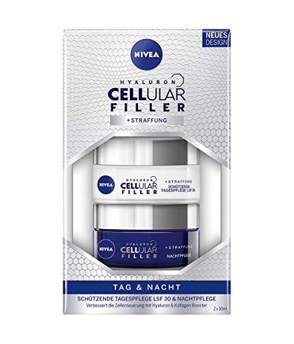 NIVEA Hyaluron Cellular Filler + Straffung Tag und Nacht Pflege-Set, 2er-Pack (2 x 50 ml), schützende Tagespflege mit Lichtschutzfaktor 30 & Nachtpflege -