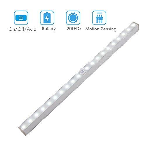 20 LEDs Barra de luz LED Recargable Inalámbrica Nocturna con Sensor de Movimiento para Gabinete, Aparador, Armario, Cajón, etc. 3 Modos(Funciona con Baterías)