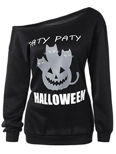 Dooxi Femme Halloween Citrouille Imprimé Sweat-shirt Manches Longues Décontractée Tops à Sweat-shirts Noir4