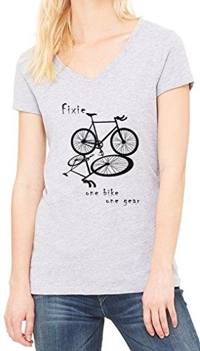 Fixie Fixed One Bike One Gear Women's V-Neck T-shirt Gris