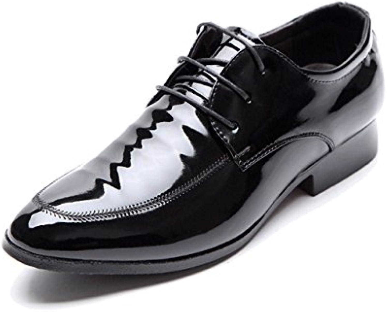 GRRONG Zapatos De Cuero Negocios Ocio Vestido Formal De Los Hombres En Punta Negro