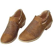 Botas Mujer Tacon Ancho Medio Ante Cuero Tobillo 4 CM Cuña Ankle Boots Botines Planos Respirable