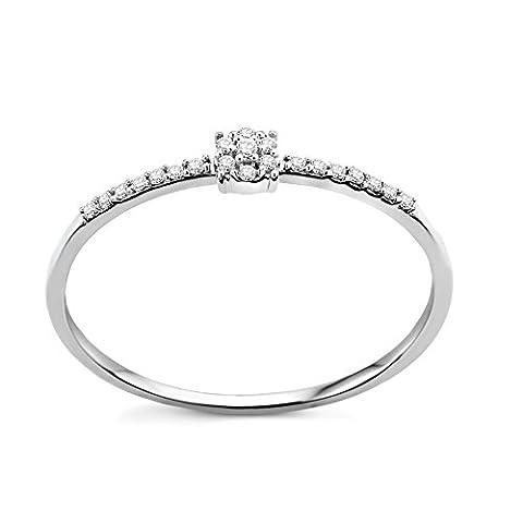 Diamada Femme or blanc en diamant fiançailles bague 9kt (375) brillant 0.062cts