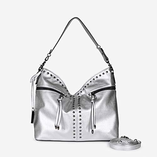 CHDDE Handtaschen für Frauen Mode Stil mittelgroße Umhängetasche/Grab Bag in Faux Semi Wildleder Nu Buck oder NEU Listed Soft & Geschmeidiges Feinkorn-PU-Leder. (Silber, etc),Silver -