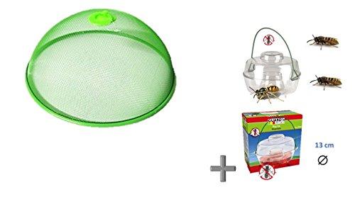 Fliegenhaube / grün Abdeckhaube / Lebensmittel - grüne Haube aus Metall Ø 30 x 12 cm + Aktion Wespenfalle 13 cm von Conny Clever