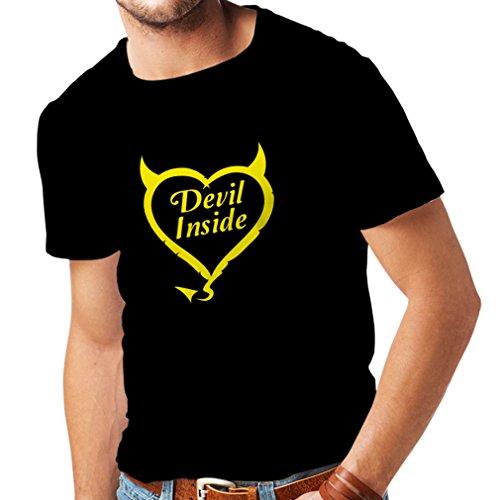 Männer T-Shirt Devil Inside Devil Kostüme Lustige Kleidung, Geschenke für Gamer, Cooler Slogan (Medium Schwarz Gelb) (Holz-camo-t-shirt)