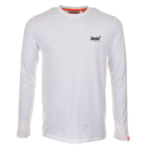 Superdry Herren T-Shirt Orange Label L/S Vntge Emb Weiß
