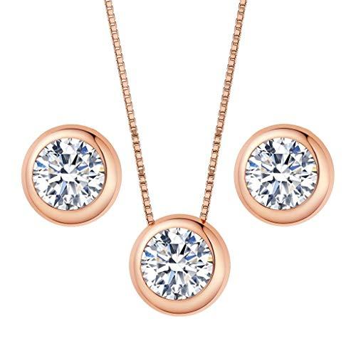 Clearine Damen 925 Sterling Silber Elegant Cubic Zirconia Rund Form Einfach Anhänger Halskette Pierced Ohrringe Schmuck Set Rose-Gold-Ton