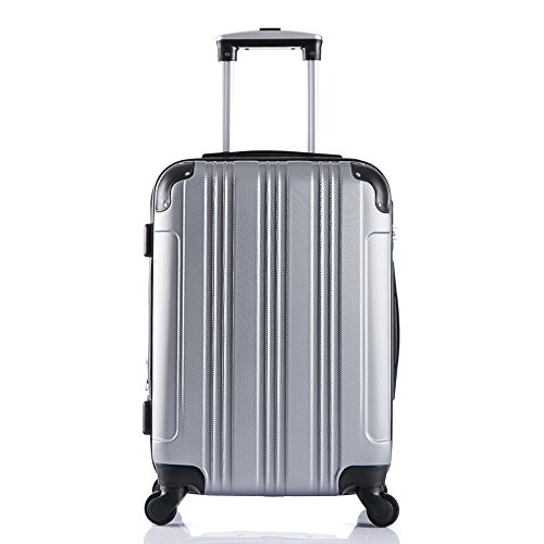 EUGAD #375 Reisekoffer Hartschale Koffer Trolley mit erweiterbare Volumen , Reise Koffer Trolley 4 Rollen , Hartschalenkoffer Handgepäck M/L/XL/Set , leicht und günstig , Silber (M, 55 cm & 42 Liter)
