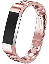 For Fitbit Alta ,Transer® Banda de reloj de acero inoxidable Correa para la muñeca de Fitbit alta reloj inteligente (Oro rosa)