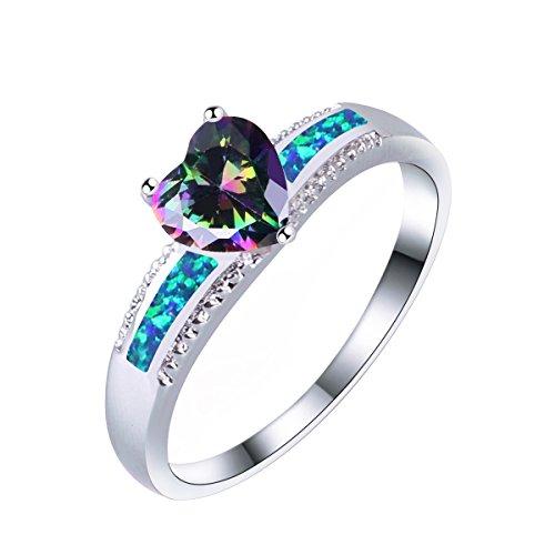 KELITCH Verfärben LIEBE Kristall Blau Synthetisch Opal Inlay Silver Überzogen Bandringe (Lila,6) Synthetische Opal Verlobungsring