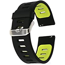 22mm correa silicona , EL-move 22MM Silicona Banda Correas Brazalete de Pulsera para Pebble Time / Gear S3 Classic / Gear2(Black Green)