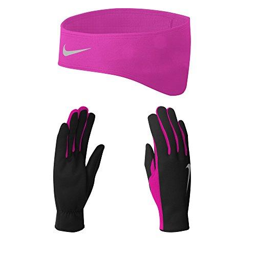 Nike Damen DRI-FIT Women Set Stirnband/Handschuhe, Black/Vivid pink, XS (Winter Nike Stirnband)
