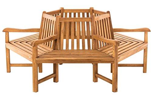 CLP Baumbank Sonja aus massivem Teakholz I Rundbank mit Armlehnen I Holzbank mit sechs Sitzplätzen I In verschiedenen Größen erhältlich Ø ca. 82 cm / 200 cm (innen/außen)