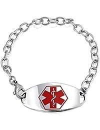 Bling Jewelry Pulsera Brazalete de Identificación Médica con Cadena y Placa Acero Inoxidable 7,5 Pulgadas