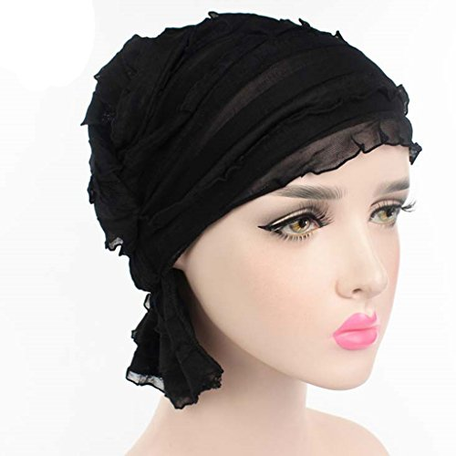 Haorw Damen Krebs Chemo Make-up Hut Falten Stretch Schal Turban Mützen (schwarz)