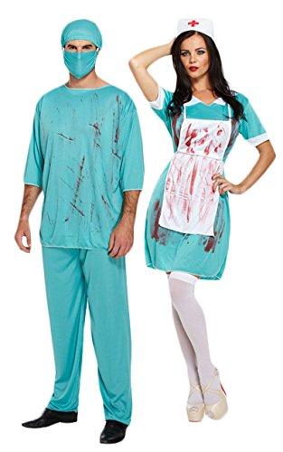 Henbrandt Blutige Zombie Chirurg & Krankenschwester Paar Kostüm Halloween Erwachsene Arzt - Ärzte Kostüm Für Erwachsene
