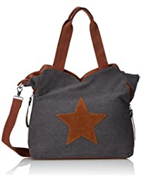 KENDT Design - Canvas Kompakt Damentasche Henkeltasche mit Stern, Stofftasche mit Leder Stern, verschiedene Farben (KDG-6210)