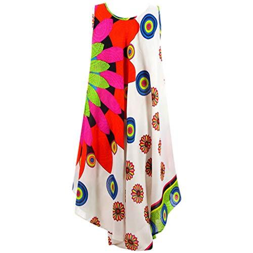 AZZRA Frauen Sommer Rundhals Ärmelloses Boho Kleid Bedrucktes Strandkleid Abendkleid Kleider A-Linie Damen v-Ausschnitt Paillettenkleid glänzend Maxikleider Hochzeit Abendkleider Partykleid -