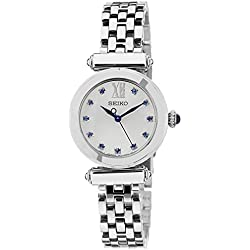 SRZ399P1 Seiko Women's Quartz Analogue Watch-White Face-Grey Steel Bracelet