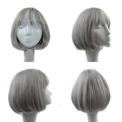 HAOBAO Mädchen Kurze Haare Perücken natürlich gezwungen Vakuum Bangs grau braun BOBO Kopf Birne Kurze Haare Festival Party hohe Temperatur Seide Perücke 240g, Light Grey -