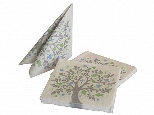 20 Servietten Baum des Lebens Grün Blau Grau Tischdeko Feier Konfirmation Kommunion Taufe - 2