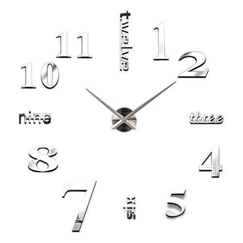 BakeLIN Wanduhr DIY 3D Modern Design Acryl Wanduhren Wandtattoo Kreative Dekoration Uhr (50cm, Silber)
