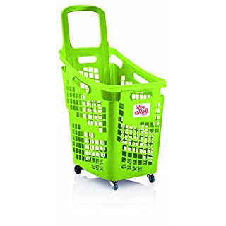 Araven Shop N Roll - X-Large 4 Wheel Plastic Shopping Trolley Basket (65L) Lime Green