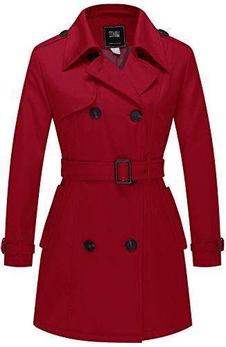 ZSHOW Damen Zweireiher Trenchcoat mit Gürtel Rot