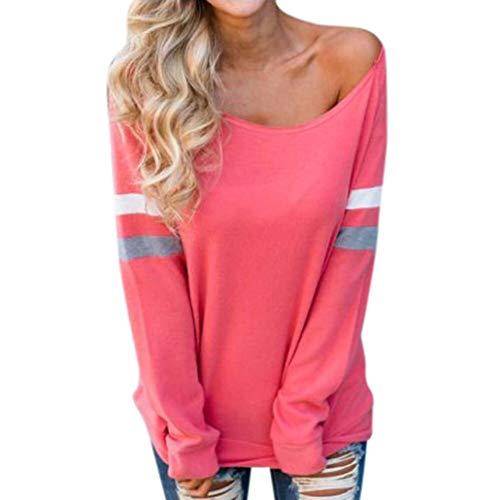 (Oliviavan,Mode Frauen Damen Langarm Splice Bluse Sexy Tops Kleidung T-Shirt Freizeit Datierung Shirts)